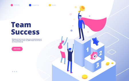 Business achievement isometric concept. Best businessman award recognition employee competition winner team goal vector background. Recognition winner, prize award team illustration