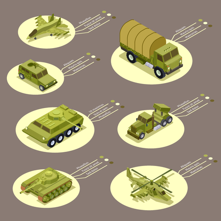 Isometric armor weapon of infographic vector illustration. Weapon military, army tank, armored and defense transport