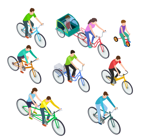 Isometric people bike. Man woman riding bikes outdoor, bicyclists. Active family biking. Cyclist bicycle 3d vector isolated set. Illustration of cyclist isometric, sport woman and man riding