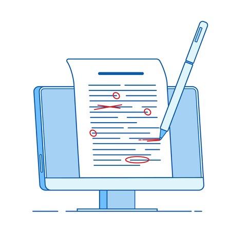 Scrivi modifica il concetto di testo. Scrittura di documenti di modifica, correzione di bozze di testo servizi di saggio concetto di linea vettoriale. Illustrazione della correzione grammaticale, modifica del documento