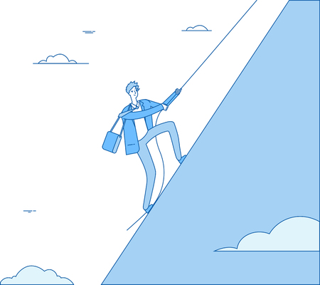 Businessman climbing mountain. Leader with rope climbs on peak. Finance profit, successful man leadership business vector concept. Leader of businessman, climbing up to achievement illustration