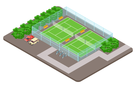 Tennis club playgrounds with parking isometric vector concept. Illustration of court tennis, sport game stadium field Banco de Imagens - 123122791