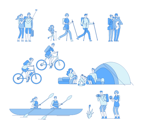 Hikers characters. Friends campfire travel tourist group hiking riding bike boat rafting trekking family explore nature line vector. Illustration of hiking and kayaking, traveler recreation Illustration