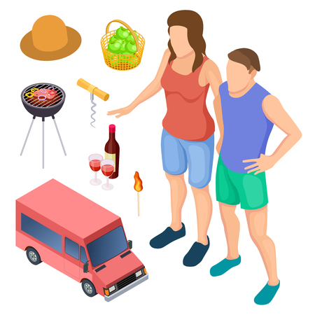 Male and female campers and camping accessories isometric vector elements. Illustration of woman and man barbecue cooking