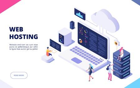 Concept d'hébergement Web. Cloud computing en ligne technologie de base de données sécurité ordinateur web centre de données serveur page vectorielle d'atterrissage isométrique. Nuage de réseau de serveurs, illustration d'hébergement de base de données Vecteurs