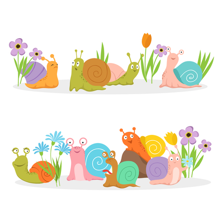 Group of cartoon character snails with flowers. Vector creature cochlea in grass and bright flowers illustration Illustration