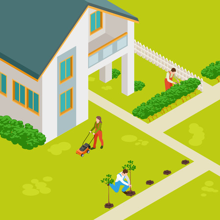 Isometric rural house and gardeners vector concept. Rural house building, countryside outdoor illustration Illusztráció