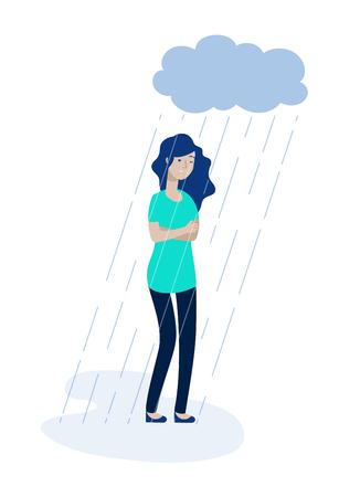 Nube de lluvia de mujer. Chica deprimida sensación de depresión solitaria infeliz adolescente soledad tristeza dolor estrés apatía concepto vectorial. Ilustración del personaje adolescente infeliz y tristeza deprimida