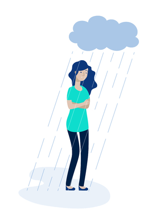 Woman rain cloud. Depressed girl feeling lonely depression unhappy teen solitude sadness grief stress apathy vector concept. Illustration of teen character unhappy and sadness depressed