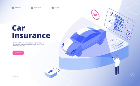 Car insurance concept. Damaged crash fire flood thief cars accident auto insurance security automobile claim form vector landing page. Illustration of insurance and protection transport