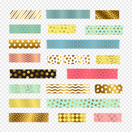 Colorful, golden washi tape strips, vector scrapbook elements. Sticker pattern ripped adhesive, tape washi label illustration Иллюстрация
