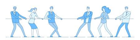 Tirando de la cuerda. Competencia empresarial en equipo, la gente rivaliza tirando de la cuerda. Competencia, rivalidad de conflictos en el cargo. Concepto de vector de tira y afloja. Cuerda de tiro de competencia, ilustración de esfuerzo de tiro de equipo
