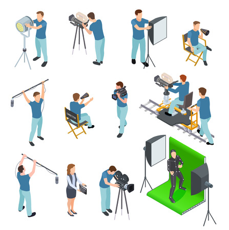 Cinematograaf isometrische set. Mensen werken camera licht bemanning film video film beweging productie tv studio groen scherm 3D-vector set. Illustratie van studiofilm, schietende camera van de operator