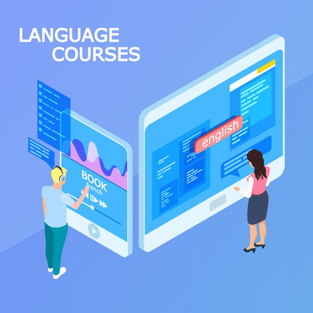 Online language courses isometric 3d vector concept. Education people, studying language distance illustration