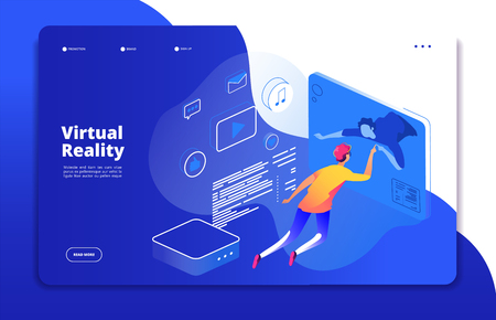 Virtual reality landing. People digital mobile entertainment augmented reality man headset virtual web interactive vector concept. Illustration of virtual reality cyberspace, entertainment video game