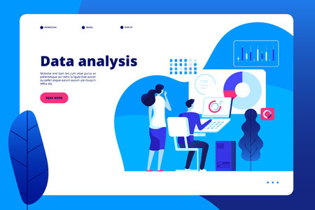 Data analysis. Digital interactive office business marketing processing professional personal analyst with laptop vector landing page. Data professional analysis, seo analytics landing illustration Illustration
