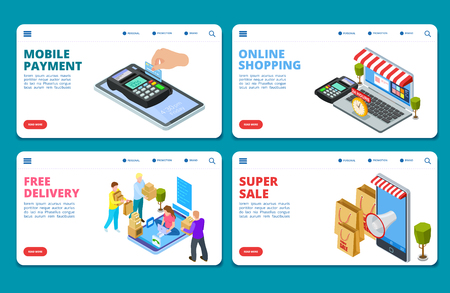 Online shopping, sale, delivery isometric vector landing page templates. Isometric e-commerce, web shop smartphone, free delivering, super sale illustration