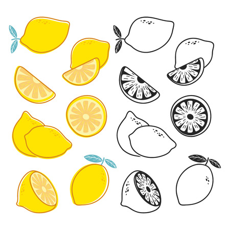 Vector lemon cuts, yellow and black and white citrus fruits vector set. Illustration of fruit cut half, citrus fresh Vectores