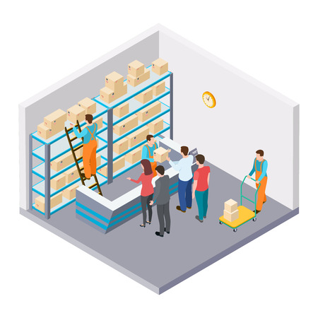 Isometric mail, delivery of parcels vector concept. Illustration of mail delivery, parcel 3d isometric, postage service worker Illusztráció
