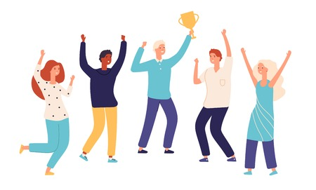 Winner team. Leader champion with gold trophy cup and happy excited employees celebrate win. Successful teamwork vector concept. Illustration of winner trophy team, teamwork achievement win Stock Illustratie