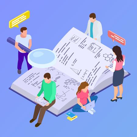 Éducation collective, illustration vectorielle isométrique de recherche de groupe. Livre de développement de la recherche et de l'éducation Vecteurs