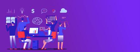Teamwork, business team brainstorm vector copy space banner. Illustration of business teamwork, banner team concept meeting Vetores