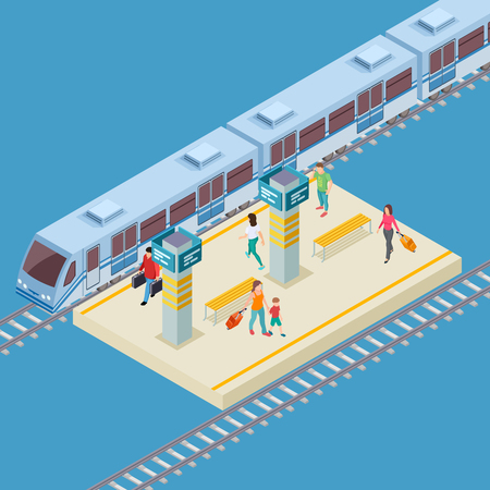 Isometric 3d city railway station vector location. Illustration of train infrastructure, passenger public transportation