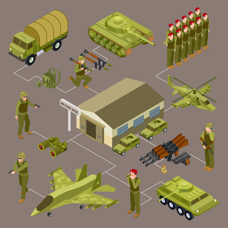 Military base isometric vector concept with soldiers and military venicles. Illustration of military armed weapon, 3d transport and soldier Vektorové ilustrace