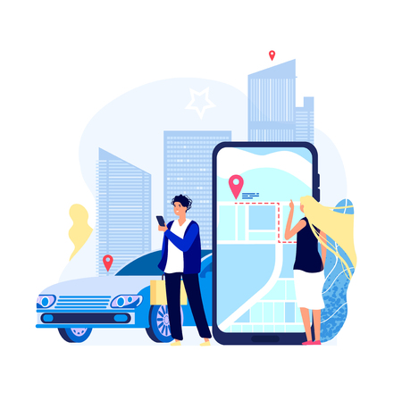 Renting cars concept. Car rent app carshare transport payment with smartphone auto driver sharing taxi search vector background. Illustration of car rent service, carsharing app mobile Vettoriali