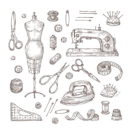 Croquis de couture. Boutique sur mesure outil de couture dessinés à la main matériel vêtements vintage couture couture couturière vecteur éléments isolés. Bobine et épingle d'éléments d'illustration de couture