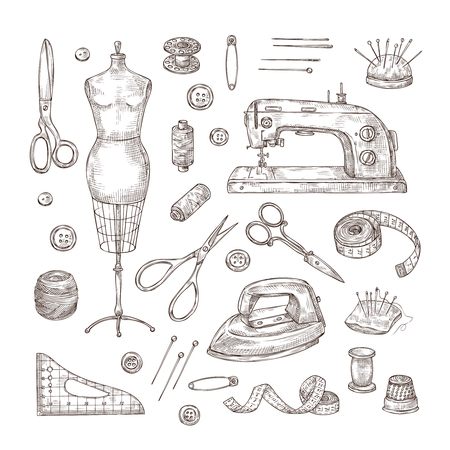 Sewing sketch. Tailor shop hand drawn sewing tool material vintage clothes needlework stitching dressmaker vector isolated items. Dressmaking illustration elements spool and pin