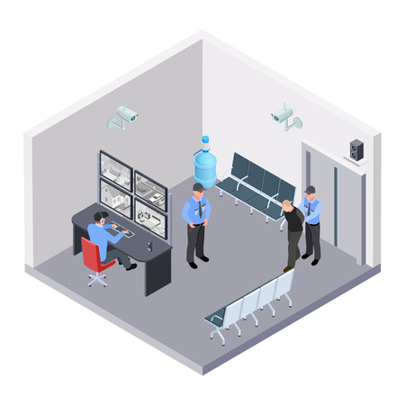 Security room in airport, railway or bus station isometric vector concept. Illustration of security room control, video monitor and guard Vector Illustration
