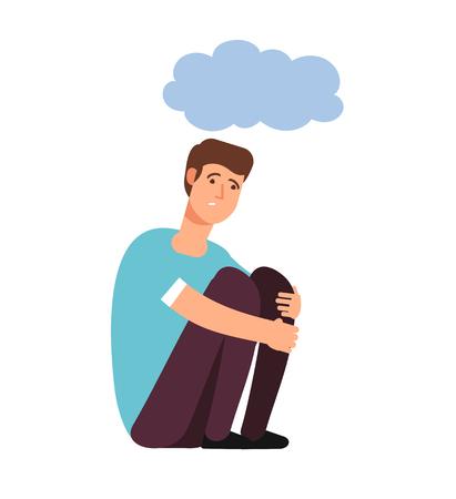 Depressed man. Depression concept homeless upset ashamed afraid lonely person sadness shame gloomy guy cartoon vector. Lonely person depression, alone man upset illustration Illustration