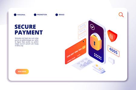 Isometrisches Konzept für sichere Zahlungen. Mobile Online-Sicherheits-Barzahlungen, Smartphone-Banking-Schutz-App. Landing-Vektorseite. Smartphone-Zahlung, isometrische Illustration der Bargeld-App Vektorgrafik