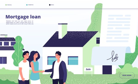 Mortgage loan. People borrower buy home property with bank credit. Young couple with broker, private house owner. Vector landing page mortgage property, credit house illustration