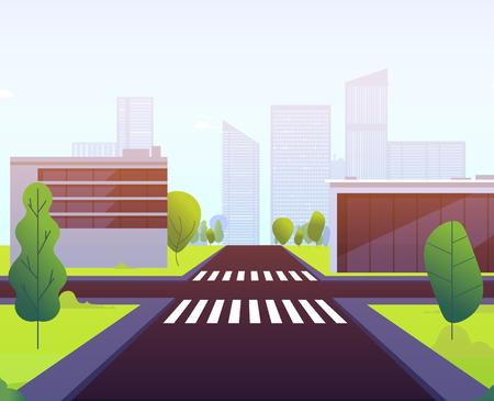 Cartoon crosswalks. Highway traffic empty street road crossing urban landscape building crosswalk intersection car sidewalk vector. Illustration of empty road, highway street town