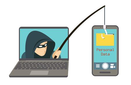 Estafa de phishing, ataque de piratas informáticos en la ilustración de vector de teléfono inteligente. Ataque a los piratas informáticos a los datos, el phishing y los delitos de piratería