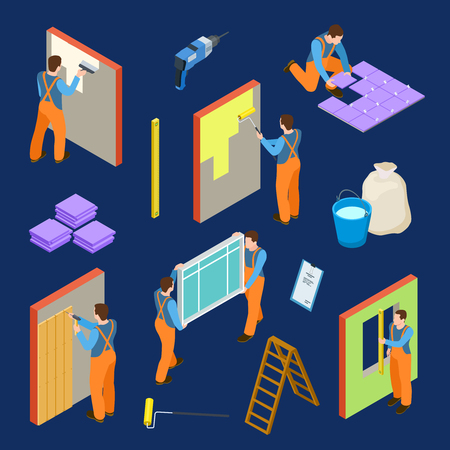 Repair workers and tools isometric vector set. Illustration of tiler and painter, construction house, reconstruction work and renovation