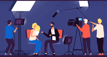 Studio interview. Host journalist tv broadcasting camera professional crew cameraman television interview reporter vector concept. Newscaster news, cameraman studio, television journalist illustration