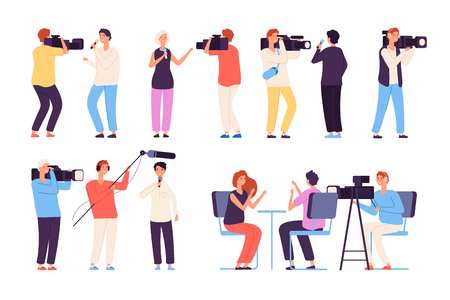 Journalists. Broadcaster news journalists broadcasting camera crew cameraman tv studio interview isolated vector cartoon characters. Illustration of cameraman journalist, media reporter interview