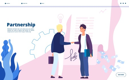 Partnership landing. Business marketing partnership community leader relationship businessman digital startup partners vector concept. Startup partnership and relationship, people work illustration 矢量图像