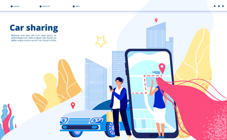Carsharing landing. Carpooling travel by multiple people together driver with car renting for city trip. Transportation vector concept. Illustration of carsharing transport, rent automobile app Ilustrace