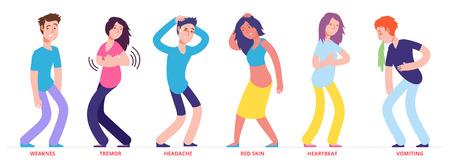 Les personnes présentant des symptômes de coup de chaleur sont des caractères vectoriels. Illustration de personnes présentant des symptômes faibles et des tremblements, une peau rouge et des vomissements