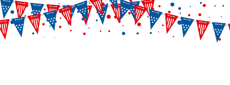 The USA flags vector banner. Triangle american flags garland background. Illustration of flag garland decoration festival, usa american holiday