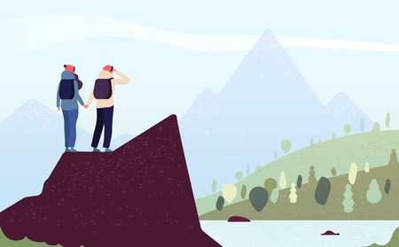 Couple on mountain. Happy woman, man climbers. Female hikers standing on rock look mountain landscape. Trekking outdoor vector concept. Illustration of hiking and trekking couple, outdoor tourism