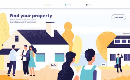 Real estate landing. People rent, sale and buy property. Young couple with broker and owner at private house. Vector web page design. Illustration of rent property house, character seller real estate