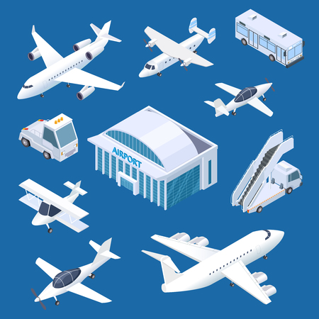 Isometric airport building, airplaines and transport at the airport vector set. Isometric airplane and airport building internationa illustration