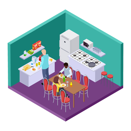 Shared kitchen in an international hostel isometric vector location. Illustration of hostel kitchen, roommate have breakfast