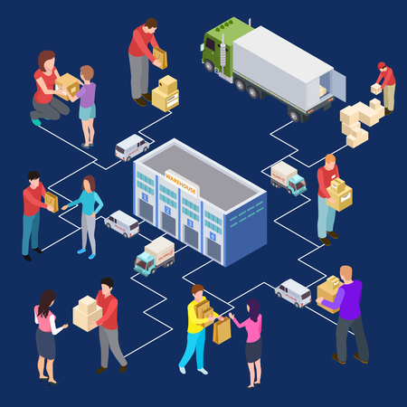 Vector 3d isometric warehouse and delivery concept. Illustration of delivery package and parcel, warehouse express delivering