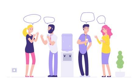 Reunión más fresca de la oficina. Hombres mujeres bebiendo agua hablando de burbujas de discurso en el concepto de vector de negocio informal social dispensador más fresco. Ilustración de reunión de oficina y discusión de chismes.